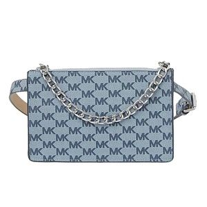MICHAEL KORS Blue Silver Signature Belt Bag